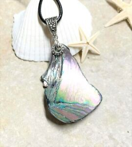 "Women's Genuine Lake Michigan Very Rare ""ABALONE"" Shell Necklace! 18"" Black Cord"