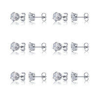 6 PACK SET Surgical Steel Unisex Stud Earrings Made with Swarovski Crystal