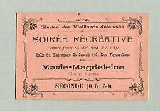 billet spectacle 1908 Montpellier Marie-Magdeleine Oeuvre vieillards délaissés