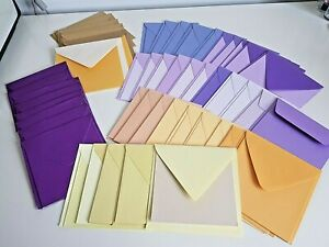 ENVELOPES AND CARDS PRE-CREASED X 50 VARIOUS COLOURS 5X5 AND 6X6  (E01)