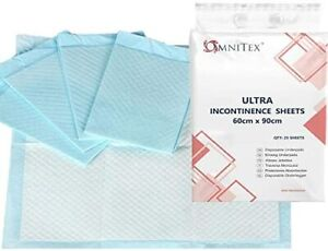 60x90cm Omnitex ULTRA Incontinence Bed Sheets / Pads - 2000ml Absorbency