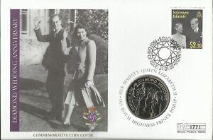 SOLOMON ISL 2007 QE11 DIAMOND WEDDING ANNIVERSARY FIVE POUNDS COIN COVER 1771