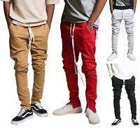 Kayden.K Tapered Skinny Fit Stretch twill Ankle Zip Pants with long drawstrings