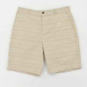 adidas Climalite Shorts Mens 36 36W Tan Plaid Chino Logo Lightweight Casual Golf