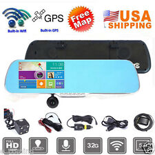 """5"""" 1080p Android GPS Touch Screen Car DVR Camera Dual Lens WiFi Rearview Mirror"""