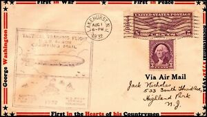 1 Aug 1932 USS Akron Carry Mail Purple Cachet With Zeppelin & Ships