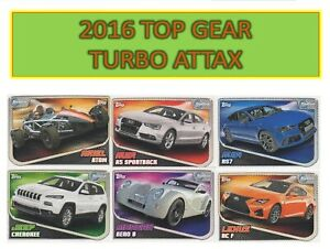 Topps Top Gear TURBO ATTAX 2016 - Choose your cards BASE, SHINY & SUPER SHINY