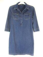 Boston Proper Womens Denim Dress Sz 4 Blue Jean 100% Cotton 3/4 Sleeve F141