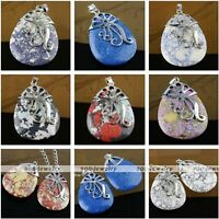 Fashion Gemstone Howlite Turquoise Teardrop Bead Focal Pendant For Necklace DIY