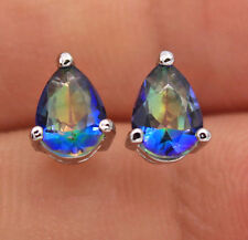 18K White Gold Filled- 5*7mm Waterdrop Blue MYSTICAL Rainbow Topaz Lady Earrings