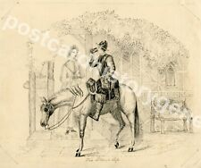 Antique Victorian Sketch, The Stirrup Cup, Horse Rider, Signed C H, 1857