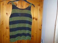 Khaki green and black stripe sleeveless jumper / tank top, NEXT, size 12