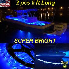 "2x 5' (60"") Blue LED Boat Deck Light Waterproof Bow Trailer Fishing Pontoon 12v"
