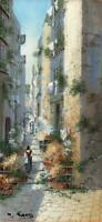 Y GIANNI Gouache Painting ITALIAN STREET SCENE POSSIBLY NAPLES - 20TH CENTURY