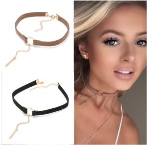 New Fashion Leather Jewelry Pendant Chain Collar Choker Statement Bib Necklace