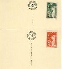 TIMBRES DE FRANCE VICTOIRE DE SAMOTHRACE  Y&T N°354-355SUR CARTES DU MUSEE DU LO