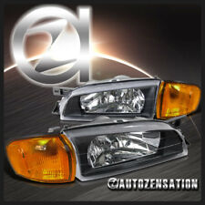For 1995-2001 Subaru Impreza Black Clear Headlights+Amber Corner Signal Lights