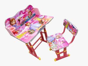 Desk Stool Set Kids Children Home Study DISNEY PRINCESS Cartoon Table Storage