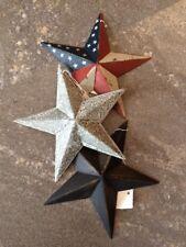 "Set of 3 ~ AMERICAN/GALVANIZED & BLACK BARN STARS 8"" COUNTRY RUSTIC FARMHOUSE"