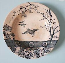 Antique 1875-94 Fj Emery Burslem England Rim Soup Bowl Rangoon Blue Aestheticism