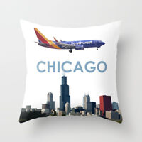 """Southwest Airlines Boeing 737 over Chicago Art - Throw Pillow (16"""" x 16"""")"""