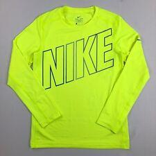 9b3cf7e2 Boy's Nike Dri-fit Training Long Sleeve Fitted Shirt Bright Yellow Size XL
