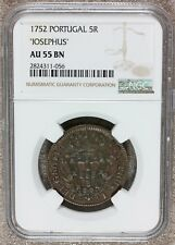 "1752 Portugal ""Iosephus"" 5 Reis Copper Coin - NGC AU 55 BN - KM# 242.1 - TOP POP"