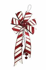 Metal Christmas Holiday Red Bows with Bell Door Hanging Holiday Decoration