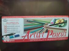 Artists Coloured Pencil Tin Set of 50 Assorted Colours