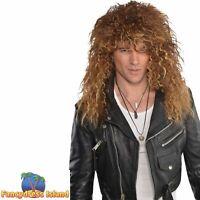Glam Rock Punk Rocker Jon Bon Jovi Wig 80's 1980s Mens Fancy Dress Costume