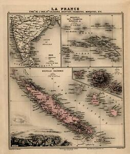 French Colonies in the East Indies New Caledonia Tahiti 1884 map