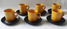 SET OF SIX VINTAGE C1970'S RAY COOK SIGNED CUPS AND SAUCERS - MADE IN AUSTRALIA
