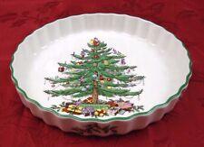 "SPODE CHRISTMAS TREE Round 8 1/2"" Quiche Baking Dish w Green Trim England EUC"