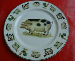 GORGEOUS FUN FARM PLATE-GLOUCESTER OLD SPOT PIG & FRIENDS-ARGYLE BONE CHINA