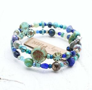 Artisan Czech Glass Flower Bead Wrap Bracelet Sea Aqua Navy Blue Turquoise BNWT