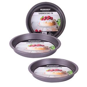 "3 Pack Tier Non Stick Round Cake Tins 8"" 20.5cm Deep Baking Carbon Steel Sponge"
