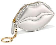 VICTORIA'S SECRET METALLIC SILVER LIPS BAG GLOSS CARD CASE COIN PURSE POUCH