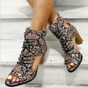 Roman Women Snakeskin Block High Heels Peep Toe Print Buckle Strappy Sandal Shoe