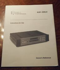 Krell KAV-300cd manual in excellent condition