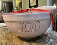 "Rae Dunn XOXO Pink Valentine's Ceramic 10"" Mixing Bowl w/ Whisk H2F! RARE! NEW"