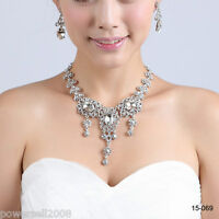Custom Made Bridal Pageant Necklace Earrings Jewelry Set Wedding Accessories !S!