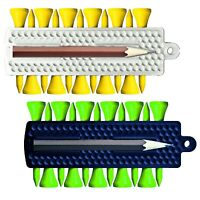 2 x Portable Rubber Golf Ball Tee Holder Carrier & 24 Colour Wooden Tees Set New