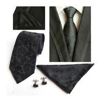 Tie Cufflinks Pocket Square Hanky Set Black Paisley Handmade 100% Silk