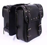 Studded Black PU Leather Motorbike Pannier Biker SD26 Motorcycle Saddle Bag