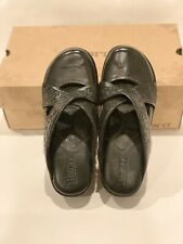 Born Mary Beth Black Leather Clog Shoes Size 9 M