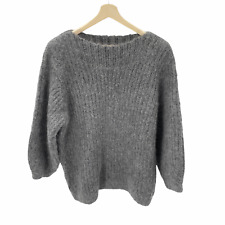 & Other Stories Women's Size Medium Gray Boat Neck Oversized Chunky Sweater