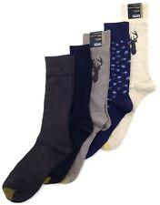 $50 Gold Toe Men 5 Pair Pack Black Brown Blue Dress Casual Crew Socks Shoe 6-12