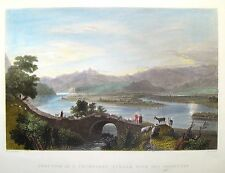 """Bartlett Hand Colored Engraving - """"JUNCTION OF STREAM WITH THE ORONTES"""" -c1840"""