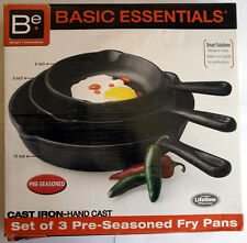 Basic Essentials Set of 3 - Cast Iron Fry Pan