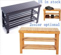 3-Tier Bamboo Stool  Entryway Bench Shoe Rack Storage Seat Chair Organizer Shelf